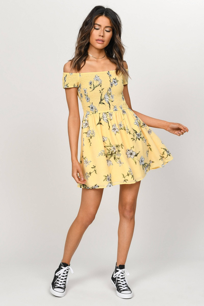18296cfbe64b6 Gemma Yellow Smocked Floral Skater Dress -  31