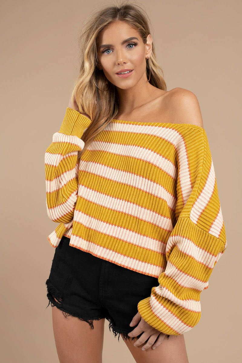 c18d00c82b8 Yellow Free People Sweater - Pullover Sweater - Yellow Striped ...