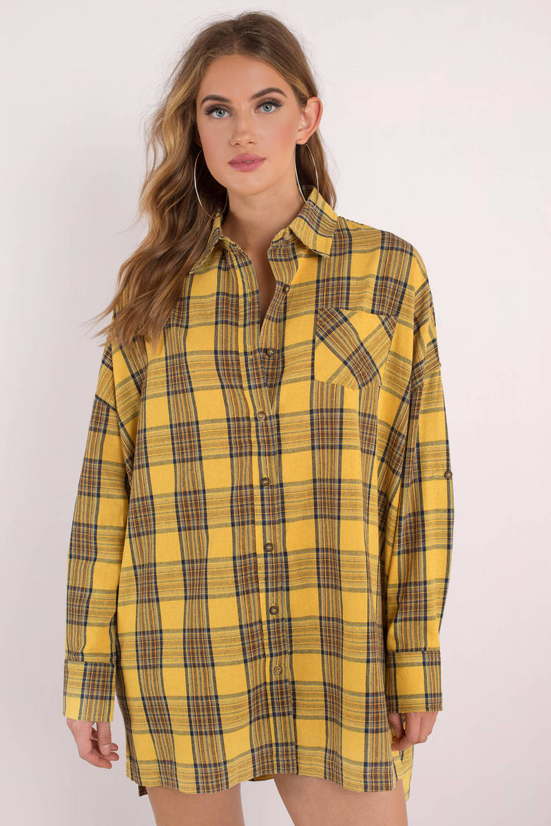 4eb155373b3 Yellow Casual Dress - Plaid Shirt Dress - Yellow Plaid Flannel Shirt ...