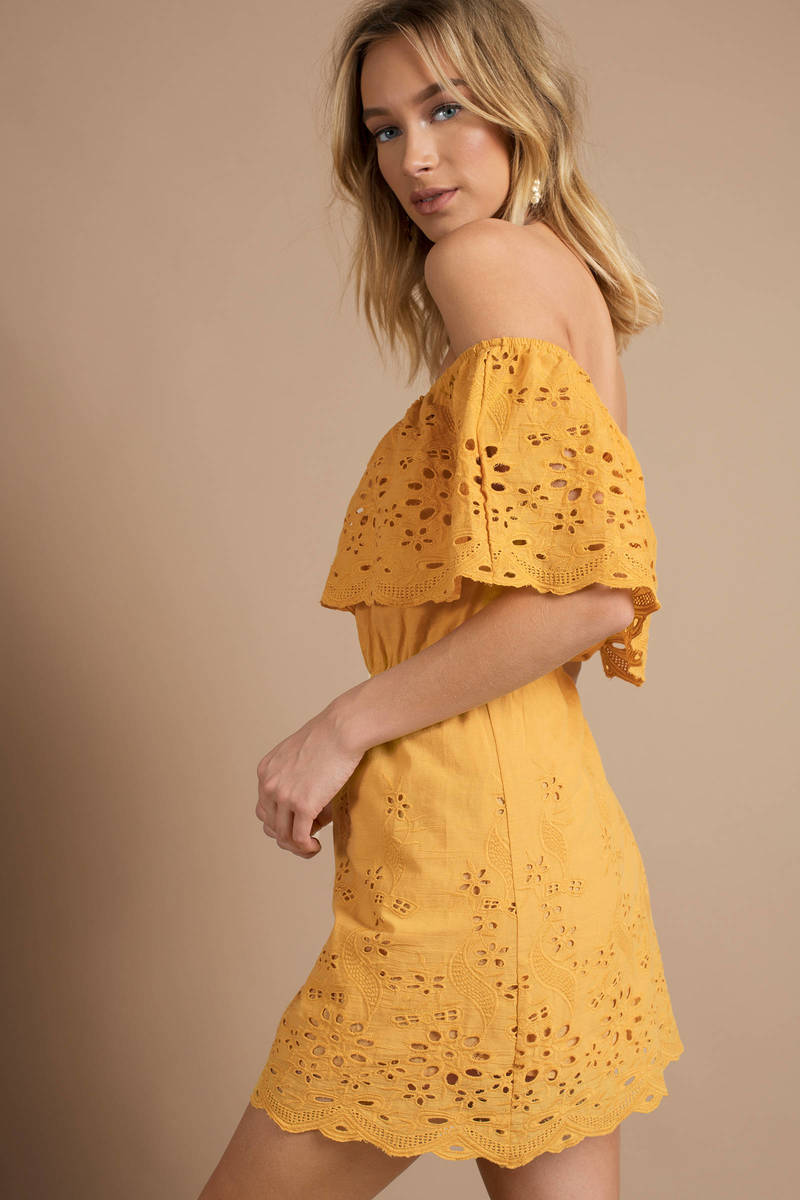 43cb436282f8 Trendy Yellow Summer Dress - Off Shoulder Mini Dress - Yellow Eyelet ...