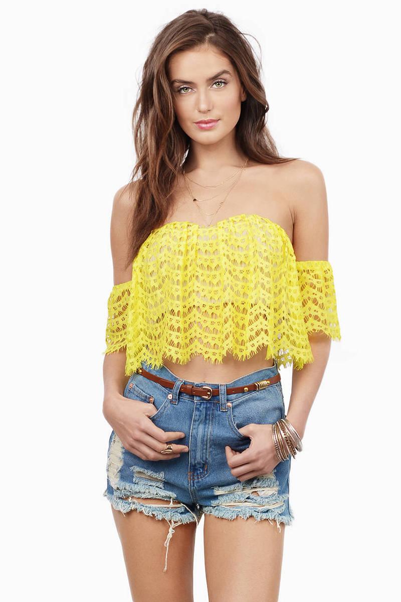 752f4e1ad59 Yellow Crop Top - Crochet Crop Top - Off Shoulder Crop Top - Yellow ...