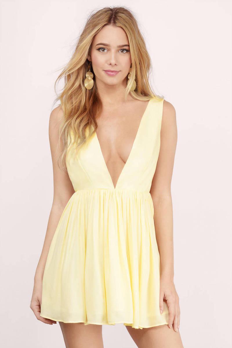 Yellow Skater Dress - Low Back Dress - Yellow Golden Dress - $18 ...