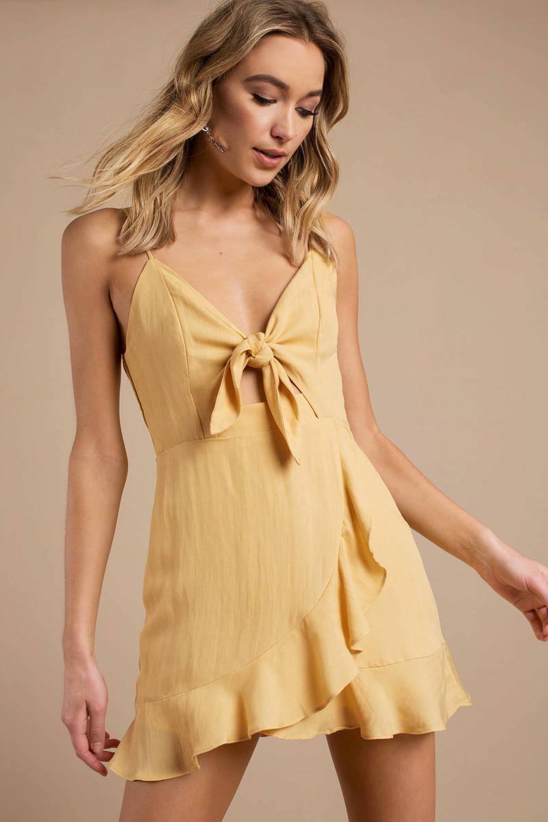 28f9a738369 Yellow Skater Dress - Ruffle Dress - Yellow Spaghetti Strap Dress ...