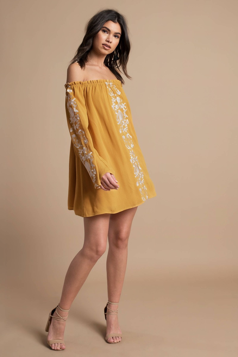 155bd4d4ea88a Yellow Shift Dress - Long Sleeve Embroidered Dress - Yellow Floral ...