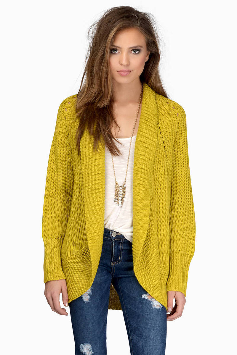 Cute Yellow Cardigan - Draped Cardigan - Yellow Cardigan - $17 ...