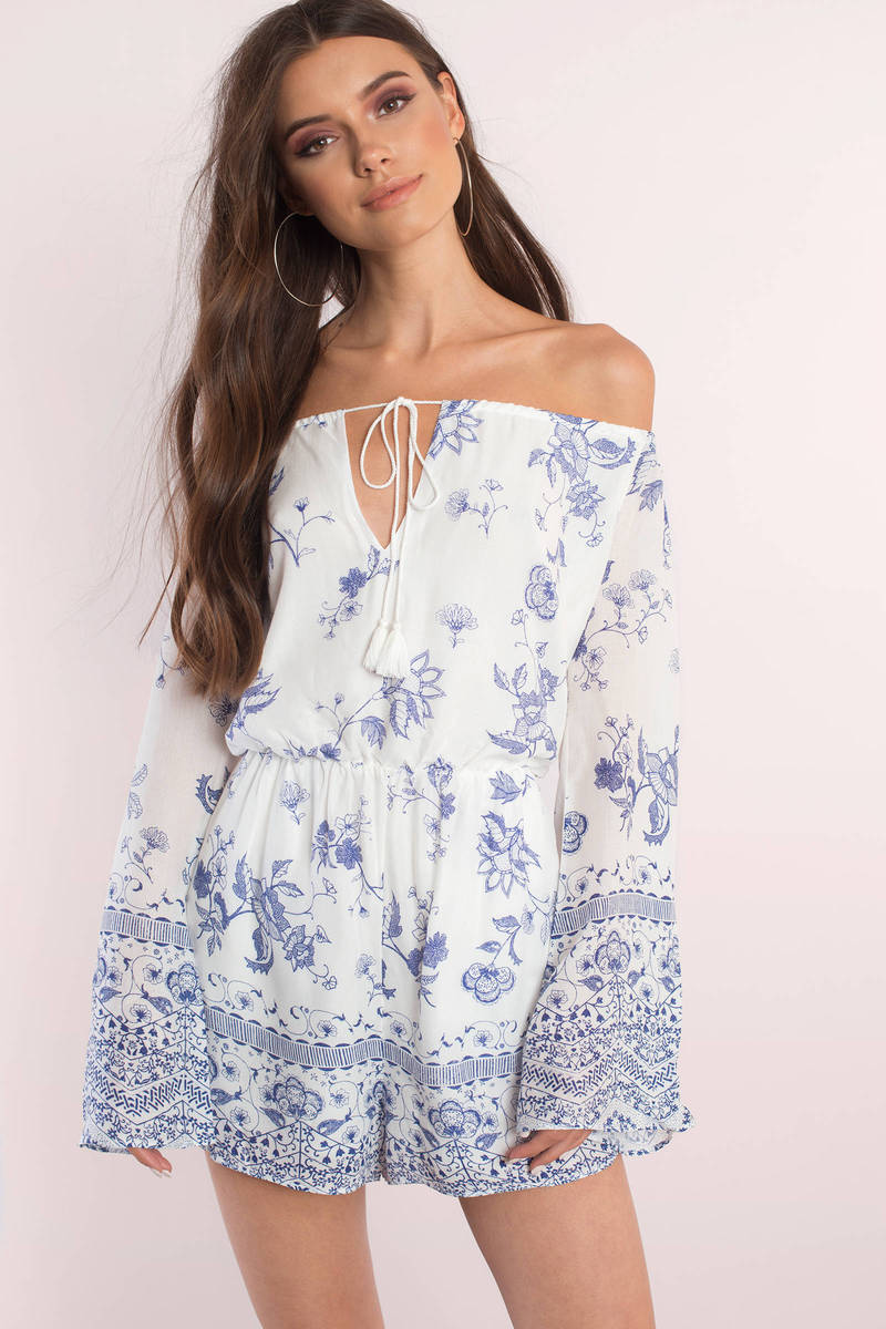 The Jetset Diaries Zulu Print Blue Off Shoulder Romper