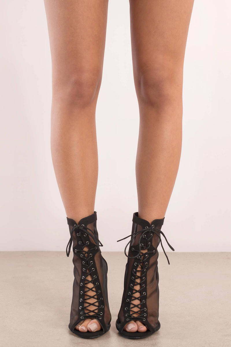 Black Heels Lace Up Heels Sheer Heels Tobi