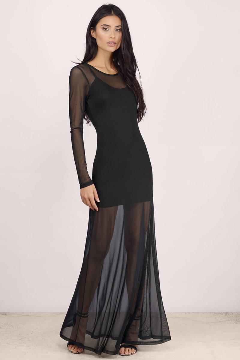 Black Maxi Dress - Black Dress - Long Sleeve Dress - Black Maxi ...