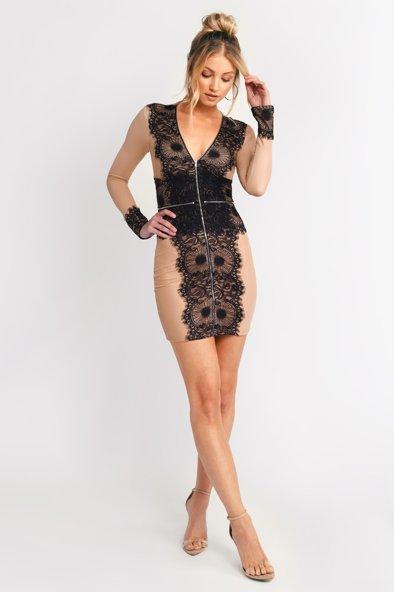 Black And Nude Dress - Lace Dress - Black Zipper Dress -3769