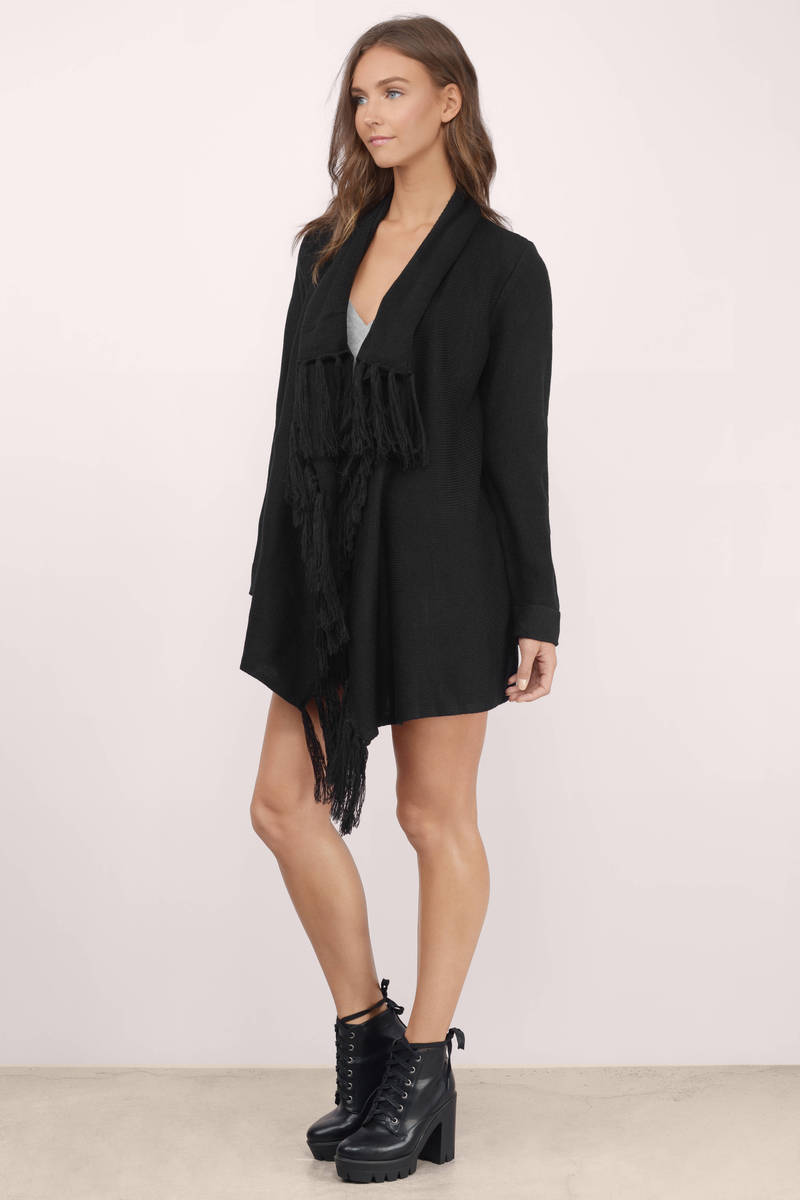 Cheap Black Cardigan - Open Front Cardigan - Black Cardigan - $18.00