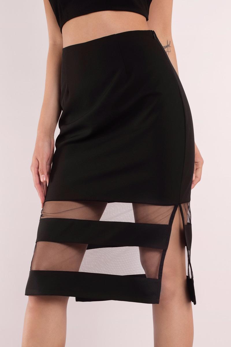 Trendy Black Skirt - Black Skirt - Mesh Skirt - Midi Striped Skirt ...