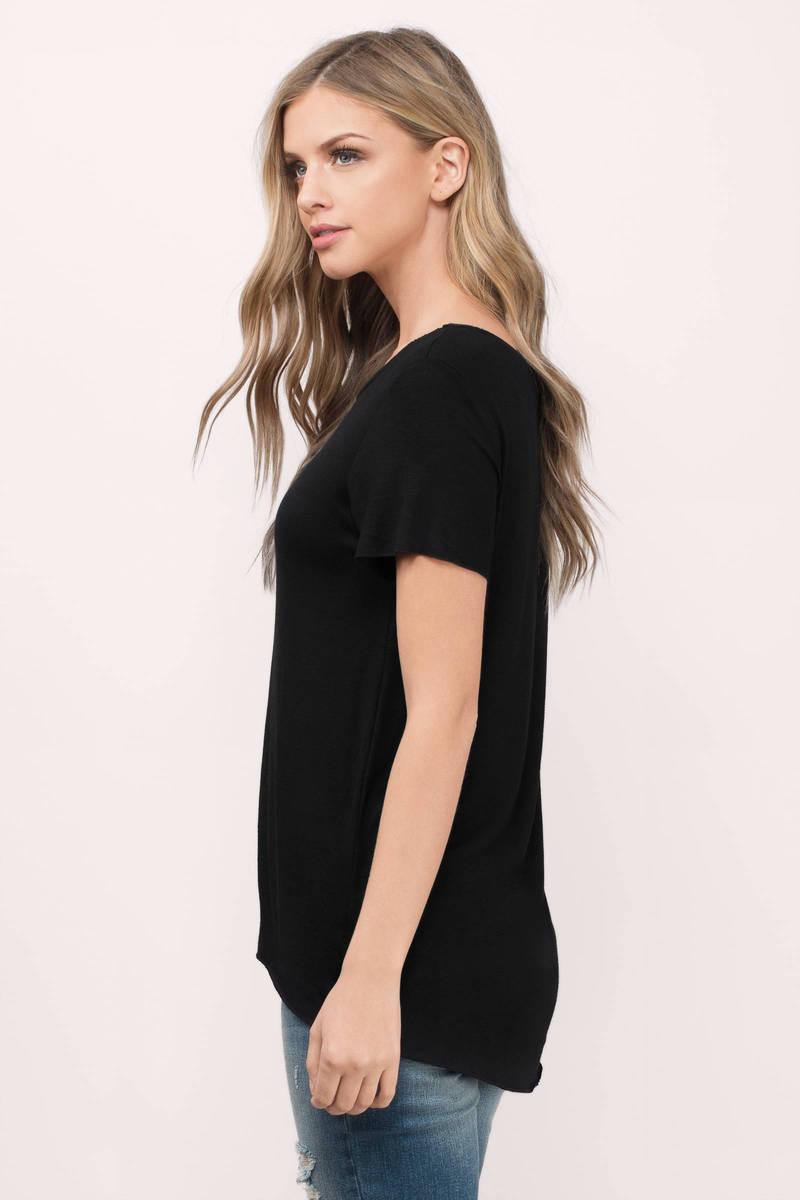 Black t shirt on girl -  Cool Girl Black Jersey Knit Tee