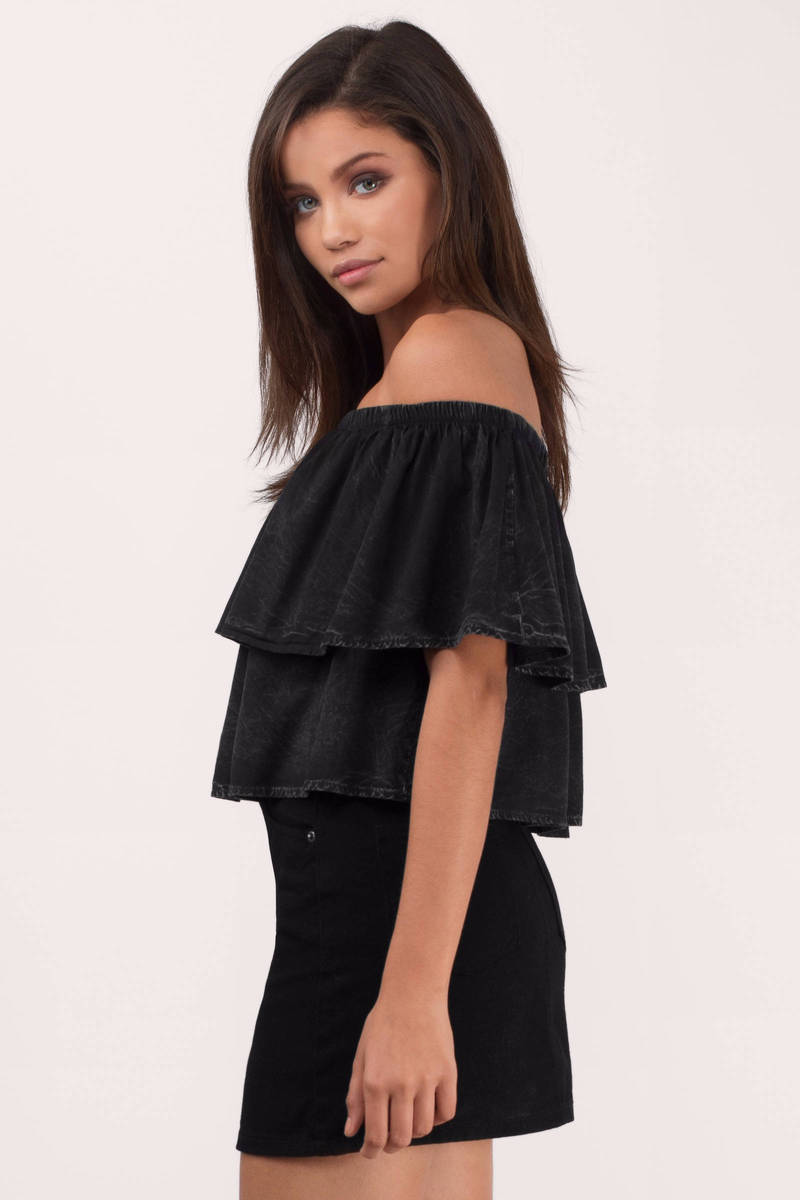 cute black blouse off shoulder blouse. Black Bedroom Furniture Sets. Home Design Ideas