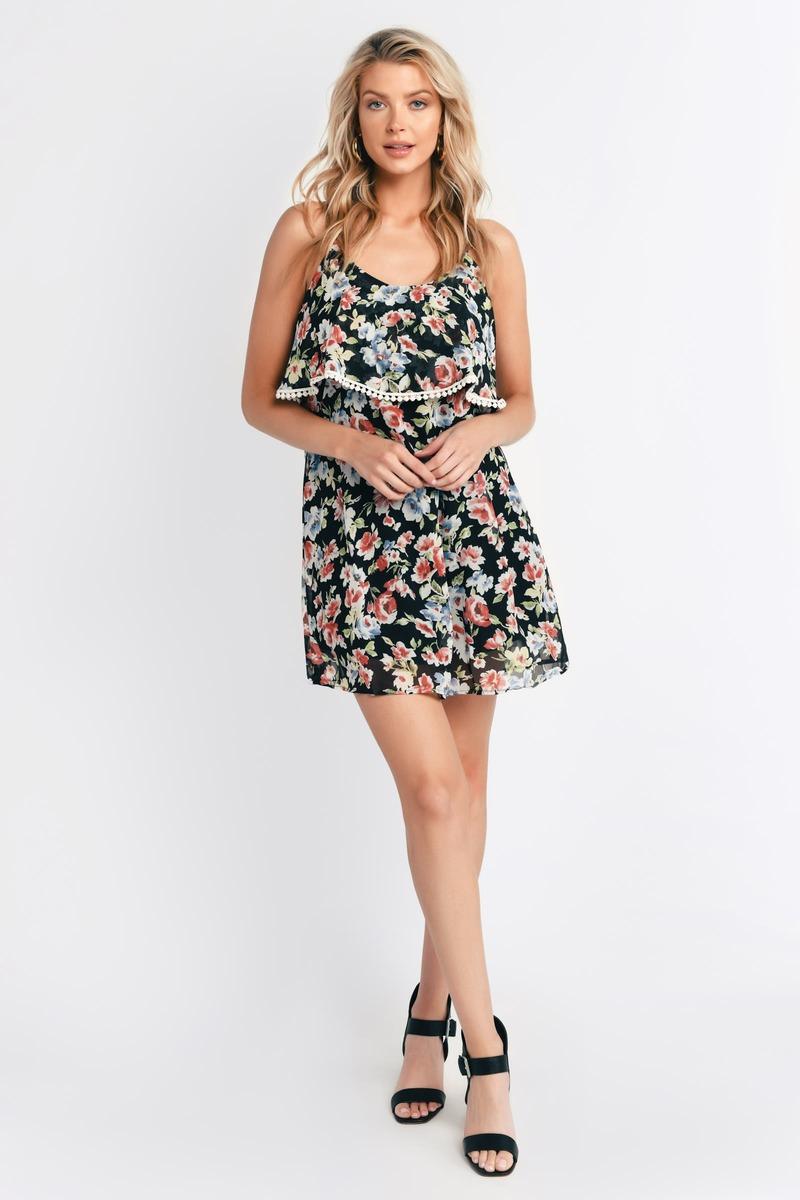 Cute Black Floral Day Dress - Floral Print Dress - $13.00