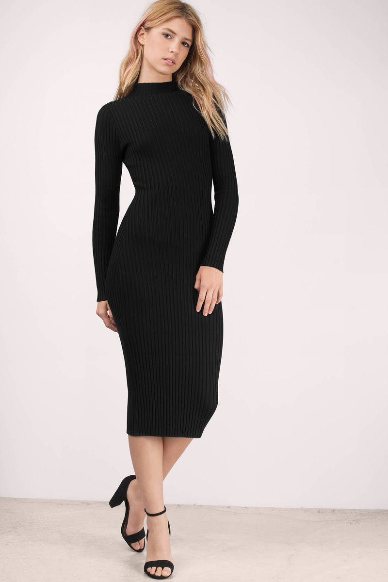Black Midi Dress - Black Dress - Long Sleeve Dress ...