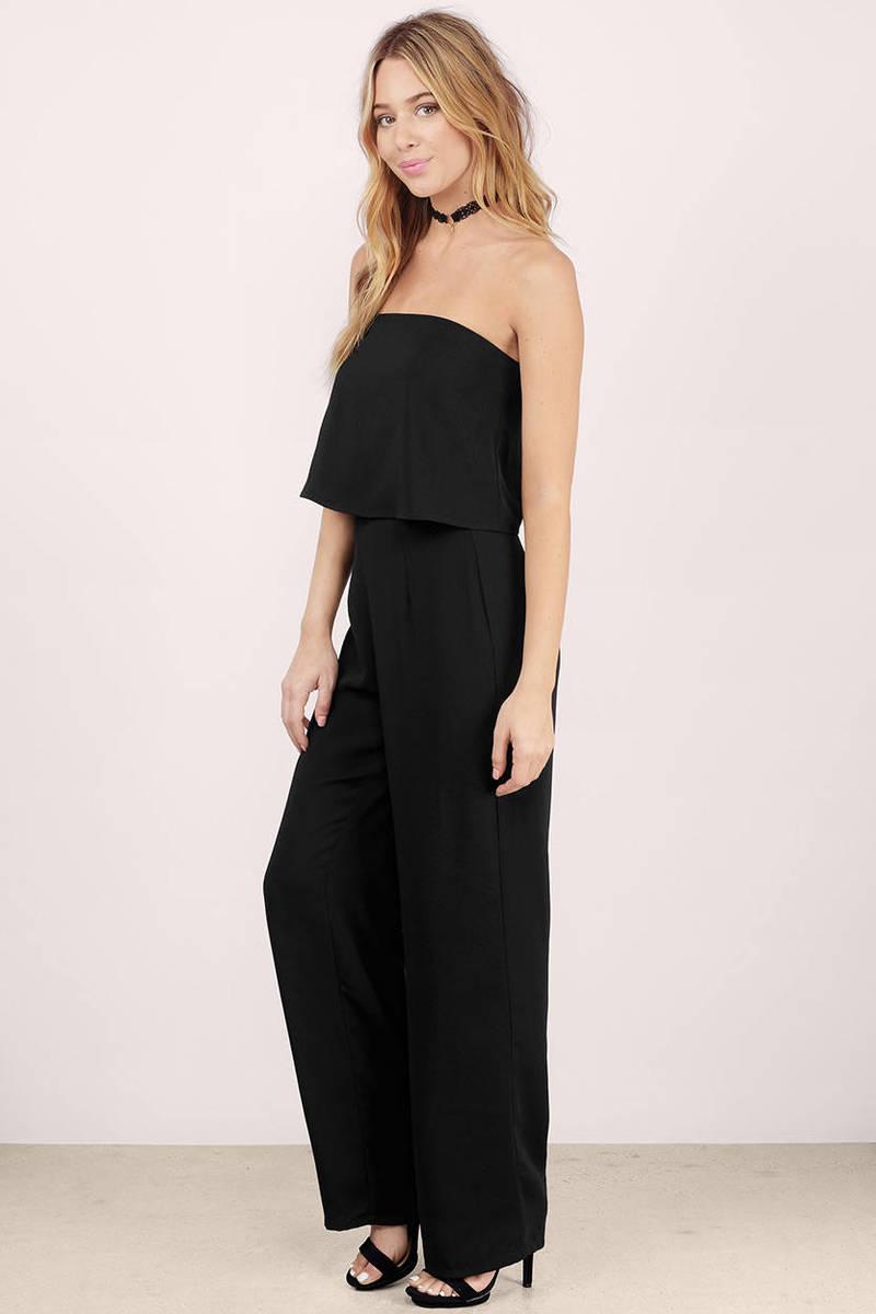 Cheap Black Jumpsuit - Strapless Jumpsuit - Black Jumpsuit ...