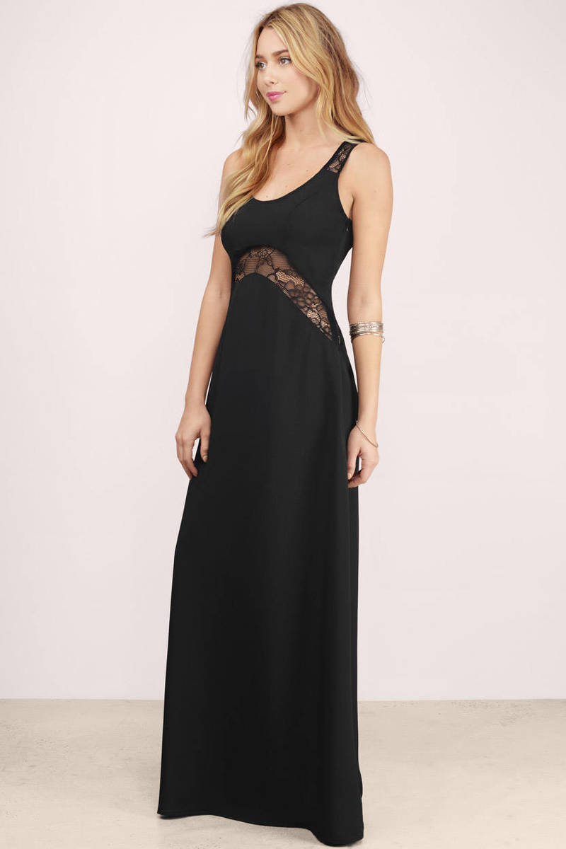 Cute Black Maxi Dress - Lace Panel Dress - $11.00