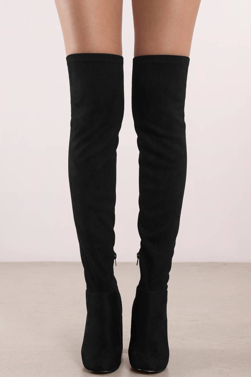 Chinese Laundry Krush Black Suede Thigh High Boots 100