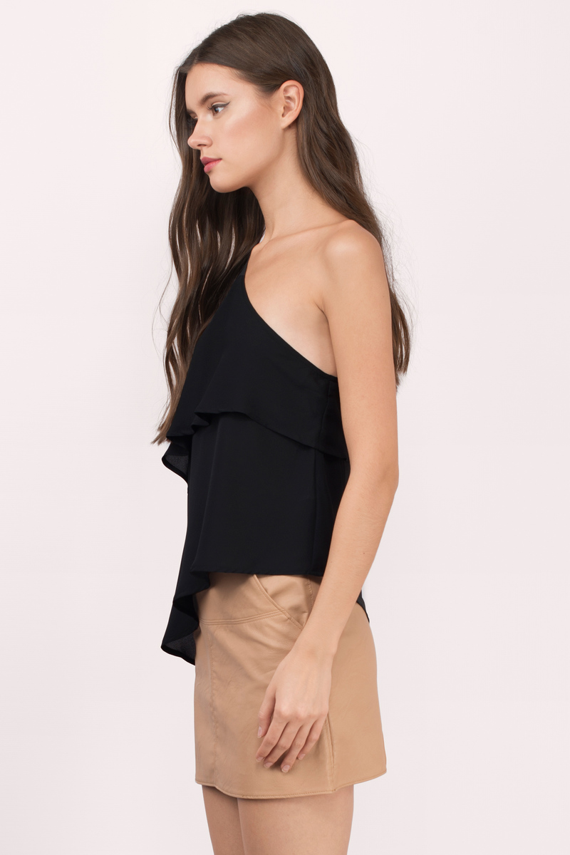 Trendy Black Blouse - Off Shoulder Blouse - Black Blouse - $22.00
