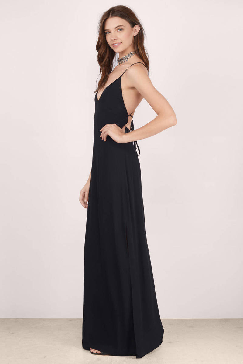 Black tie back dress