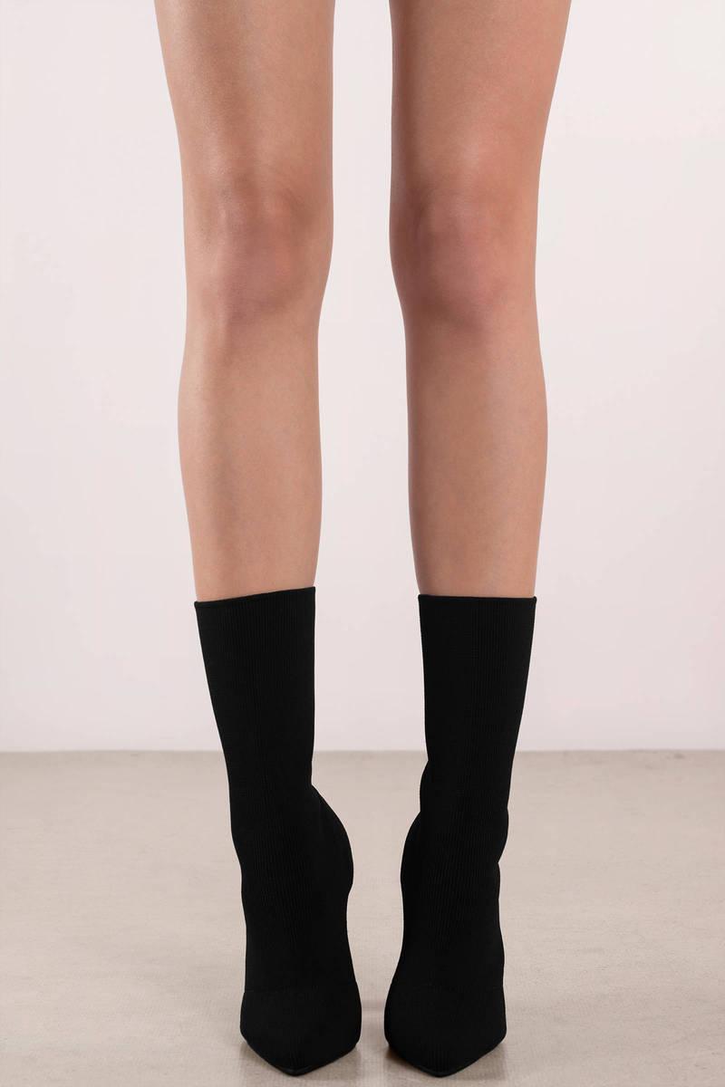 Morgan Black Heeled Sock Boots 78 Tobi Us