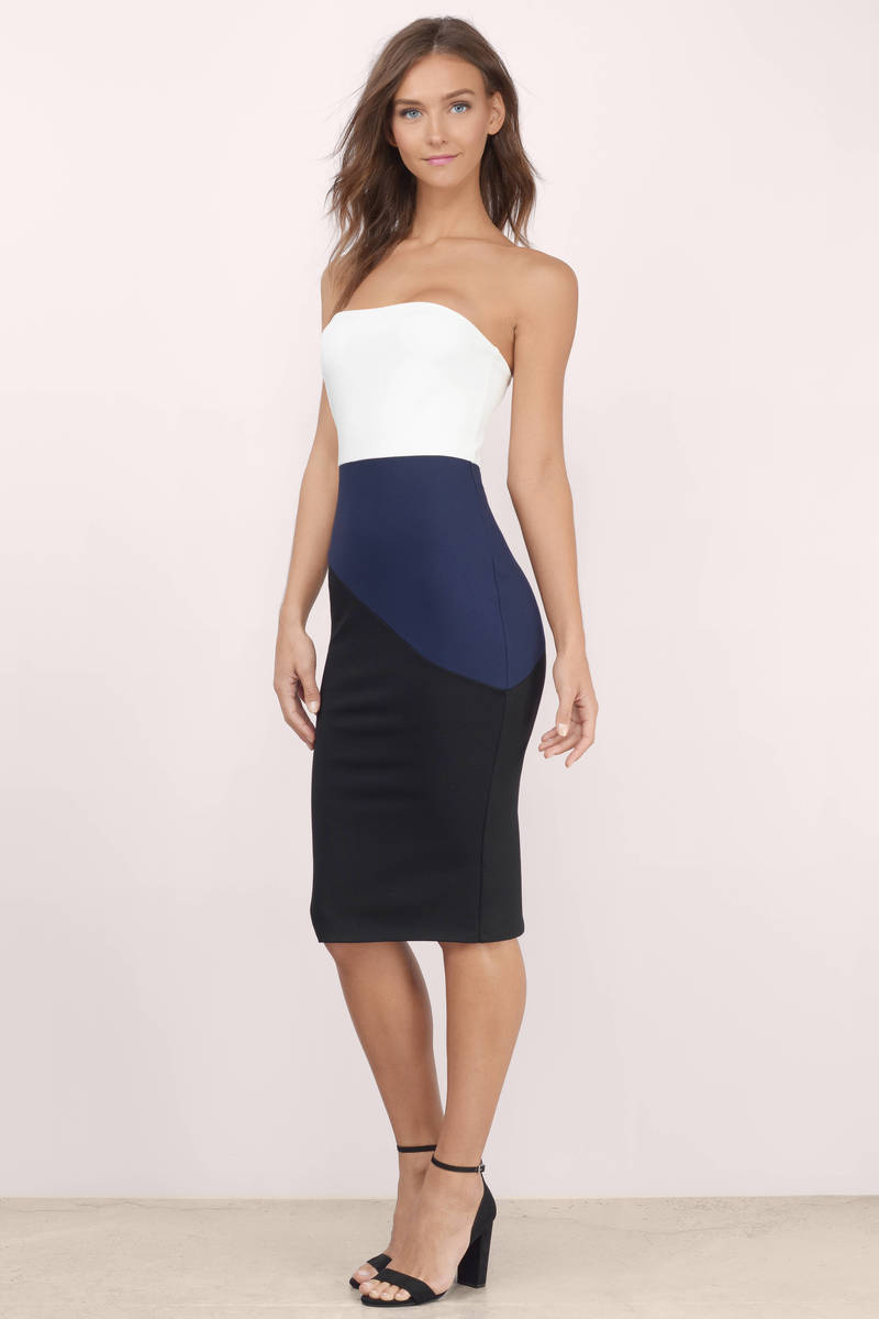 Trendy Black Multi Midi Dress - Color Blocked Dress - $76.00