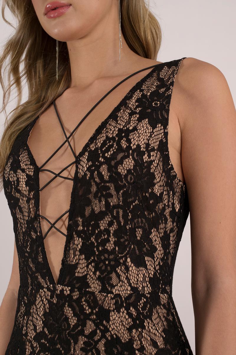 Black  Nude Bodycon Dress - Black Dress - Lace Up Dress - 68-3199