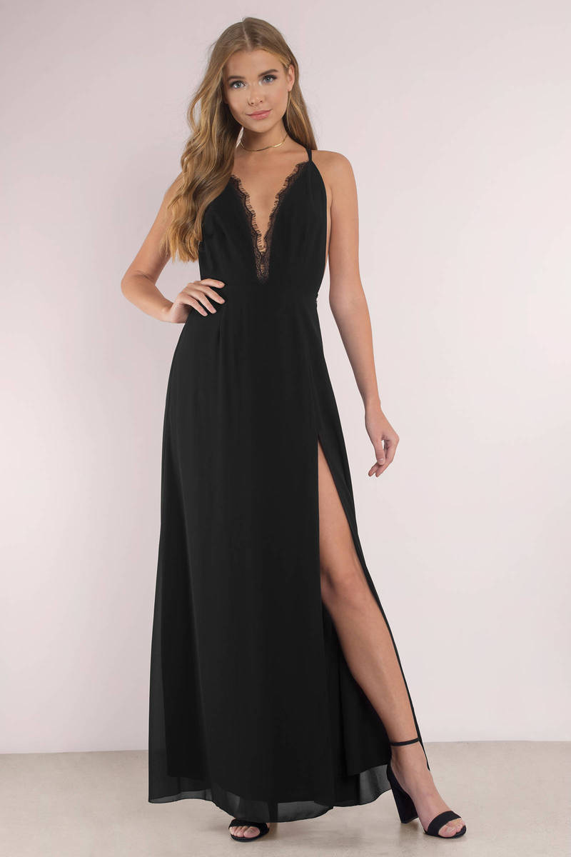 black dress with high slits cute wine dress plunging neckline front slit dress 1298