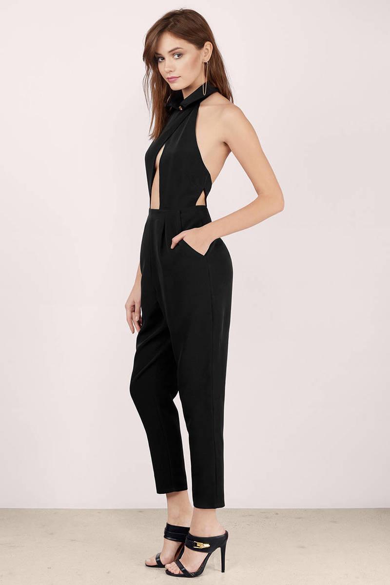 Cheap Black Jumpsuit - Open Back Jumpsuit - $24.00