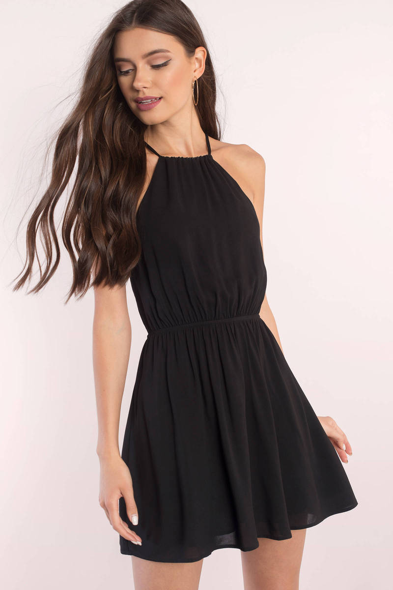 black skater dress  strappy dress  black dress  skater