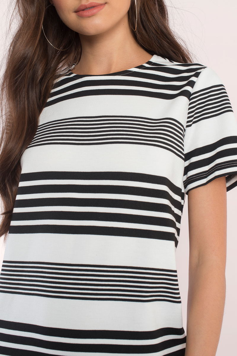 Italy black and white t shirt dress size online