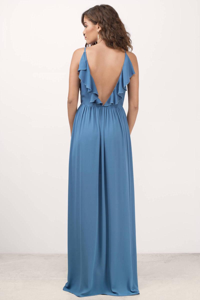 Cute Blue Dress - Plunging Dress - Blue Elegant Dress ...