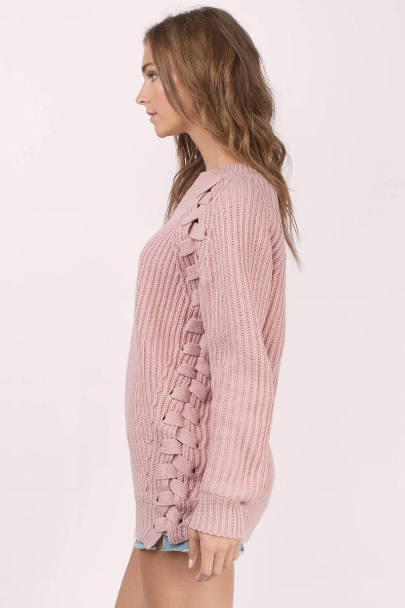 Blush Sweater - Pink Sweater - Lace Up Sweater - Blush Top - $29 ...