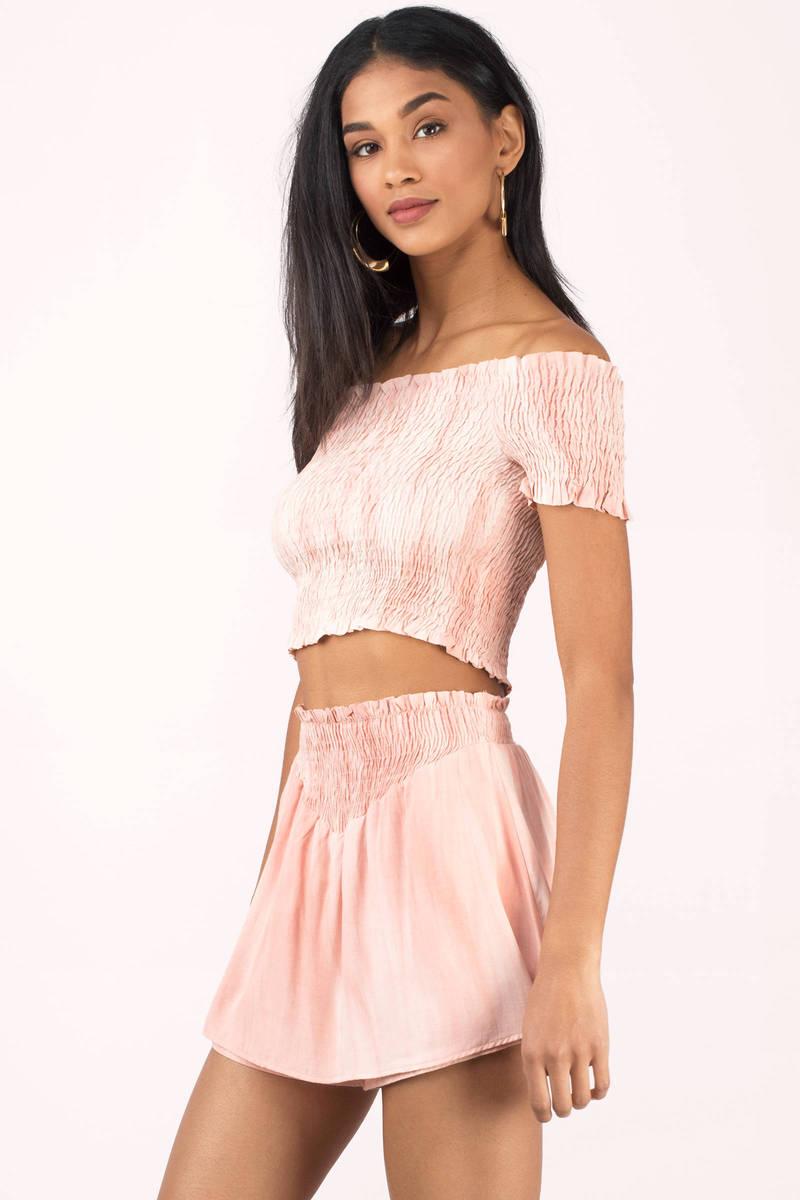 Blush Top - Pink Top - Smocked Off The Shoulder Top - $56.00