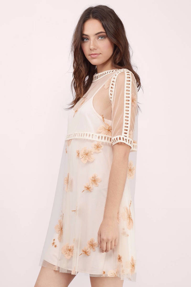 Cream And Pink Floral Dress