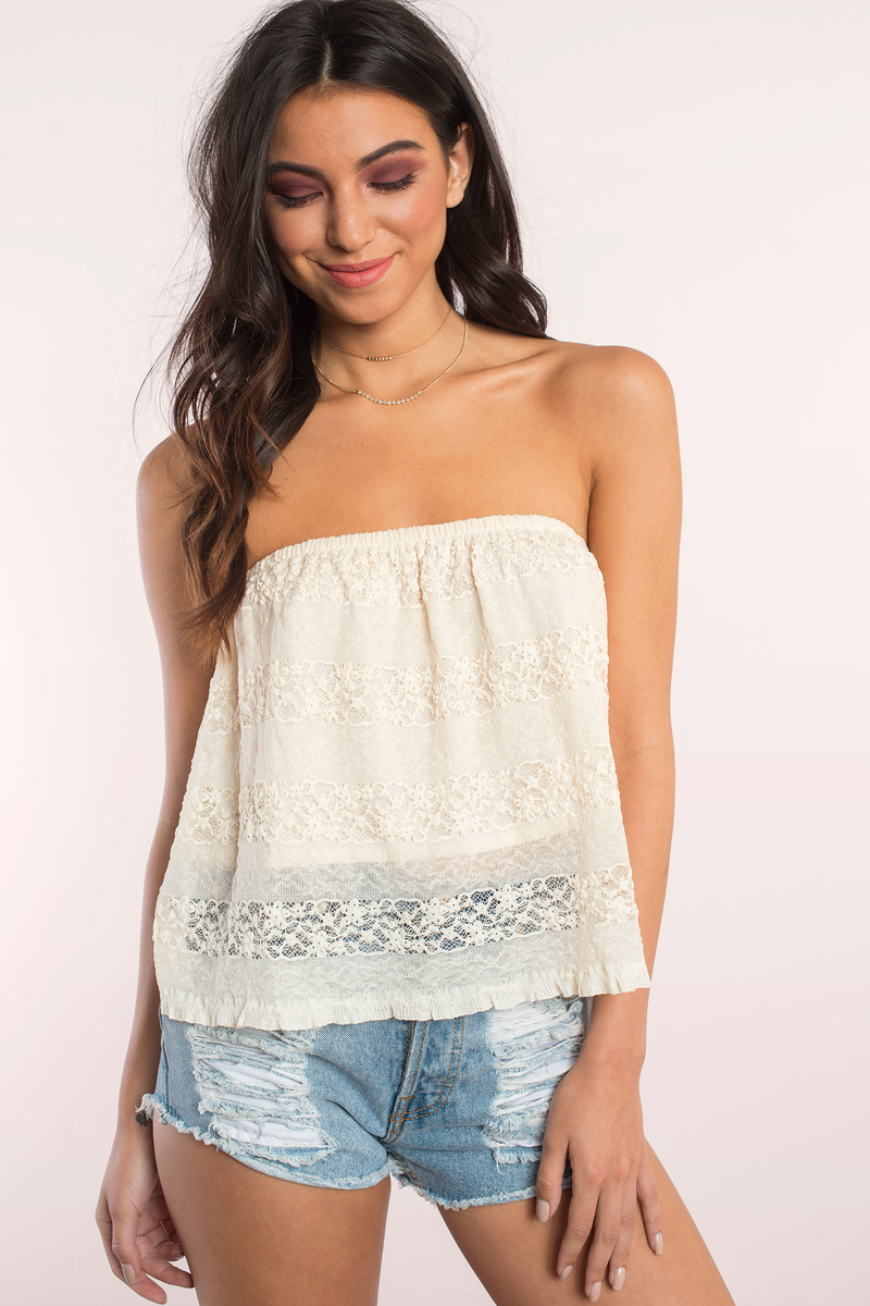 Cute cream tank top white top lace top for Tube top pictures