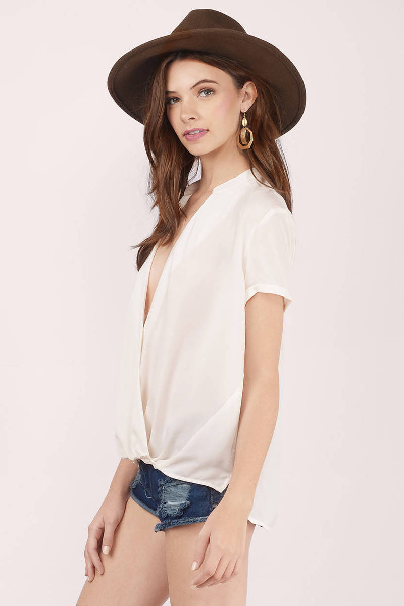 Cute Cream Blouse - Wrap Blouse - White Blouse - Cream Blouse - $56.00