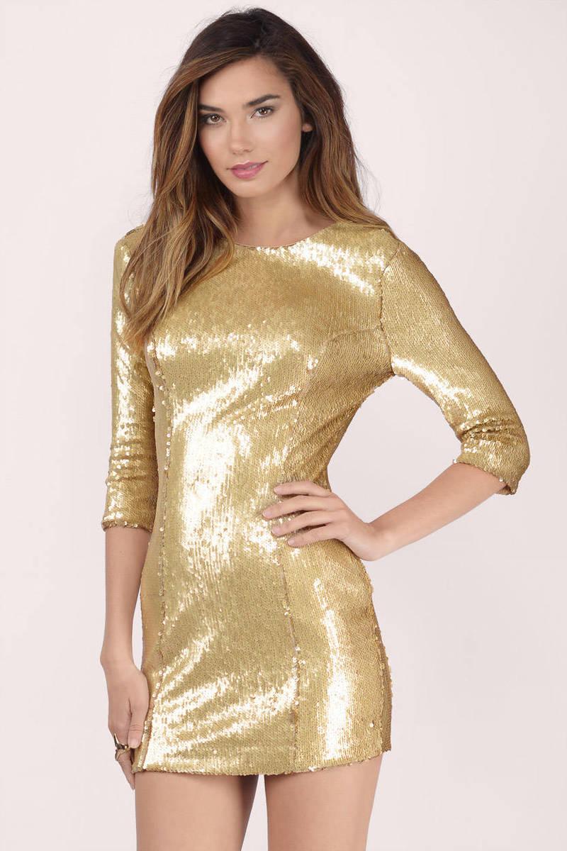 Cute Gold Dress Sequin Dress Metallic Gold Dress