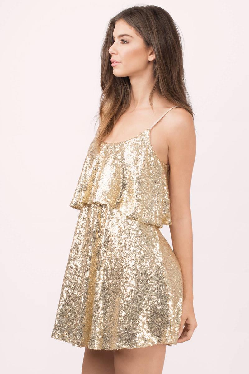 cute gold skater dress gold dress sequin dress 2300