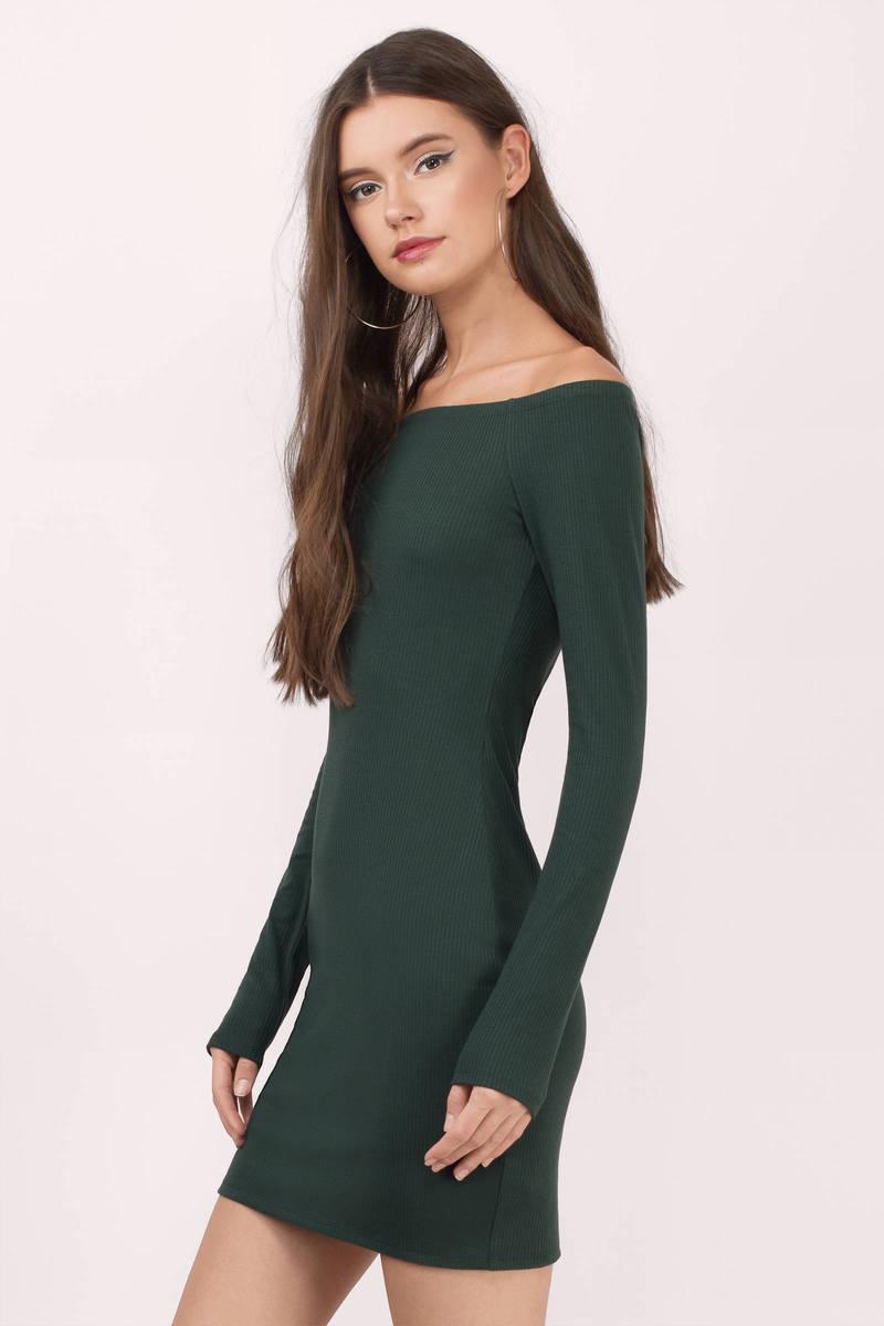 Cute Green Bodycon Dress - Off Shoulder Dress - Bodycon Dress - $20.00