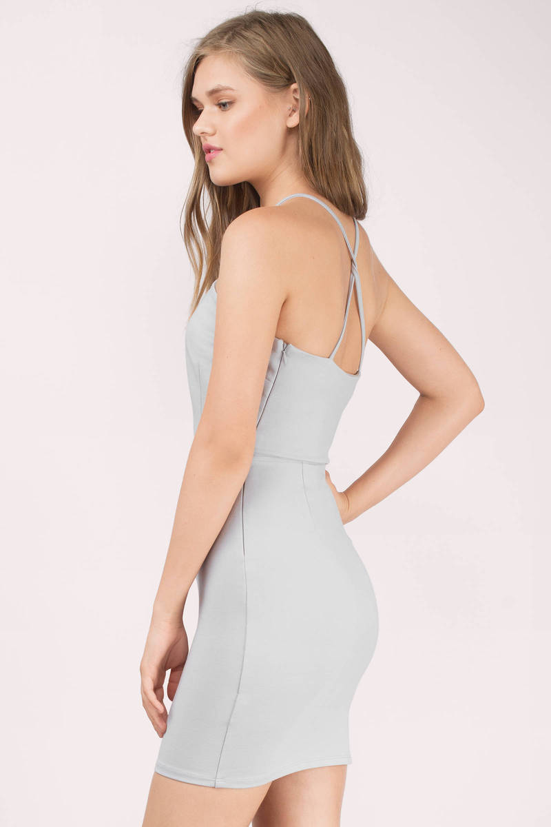 Sexy Grey Bodycon Dress - Plunging Dress - 2300-5519