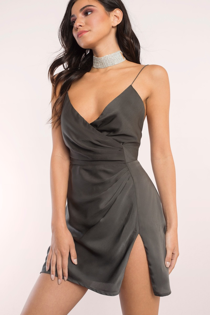 Sexy Grey Dress Front Slit Dress Pewter Dress Wrap