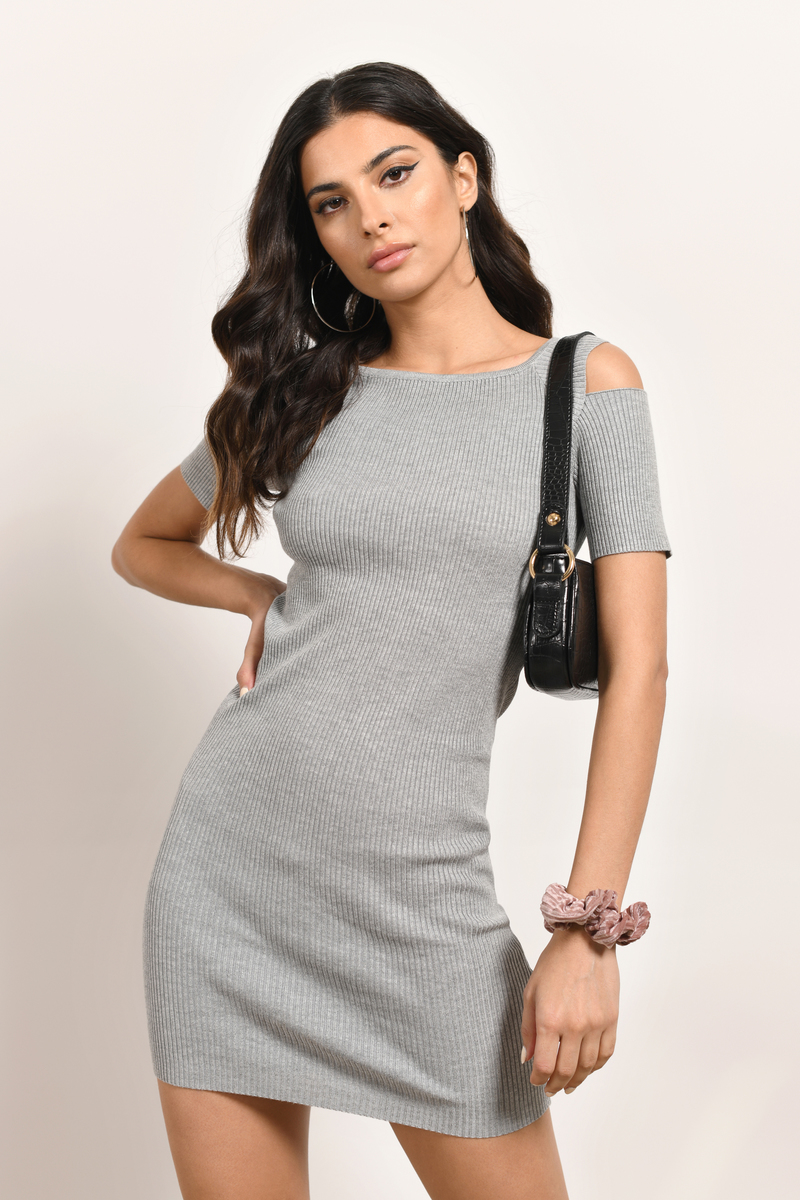 Sexy Heather Grey Bodycon Dress - Cold Shoulder Dress - $42.00