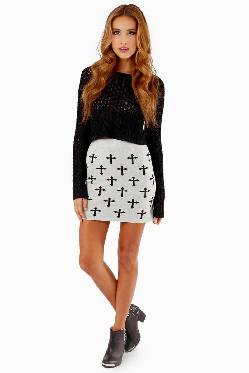 Trendy Heather Grey Skirt - Grey Skirt - High Waisted Skirt - $9.00