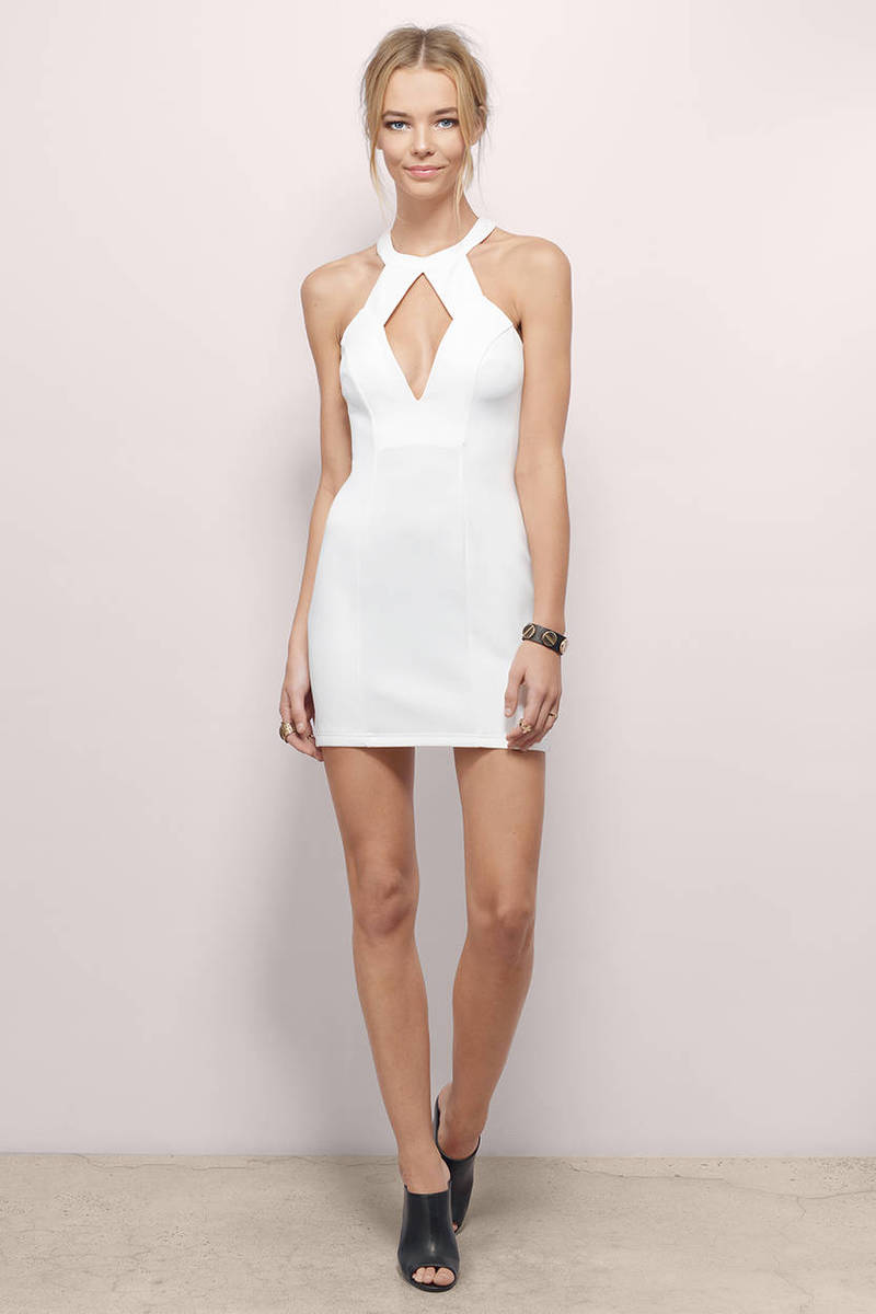 Mi Ni Clips: Cheap Ivory Bodycon Dress