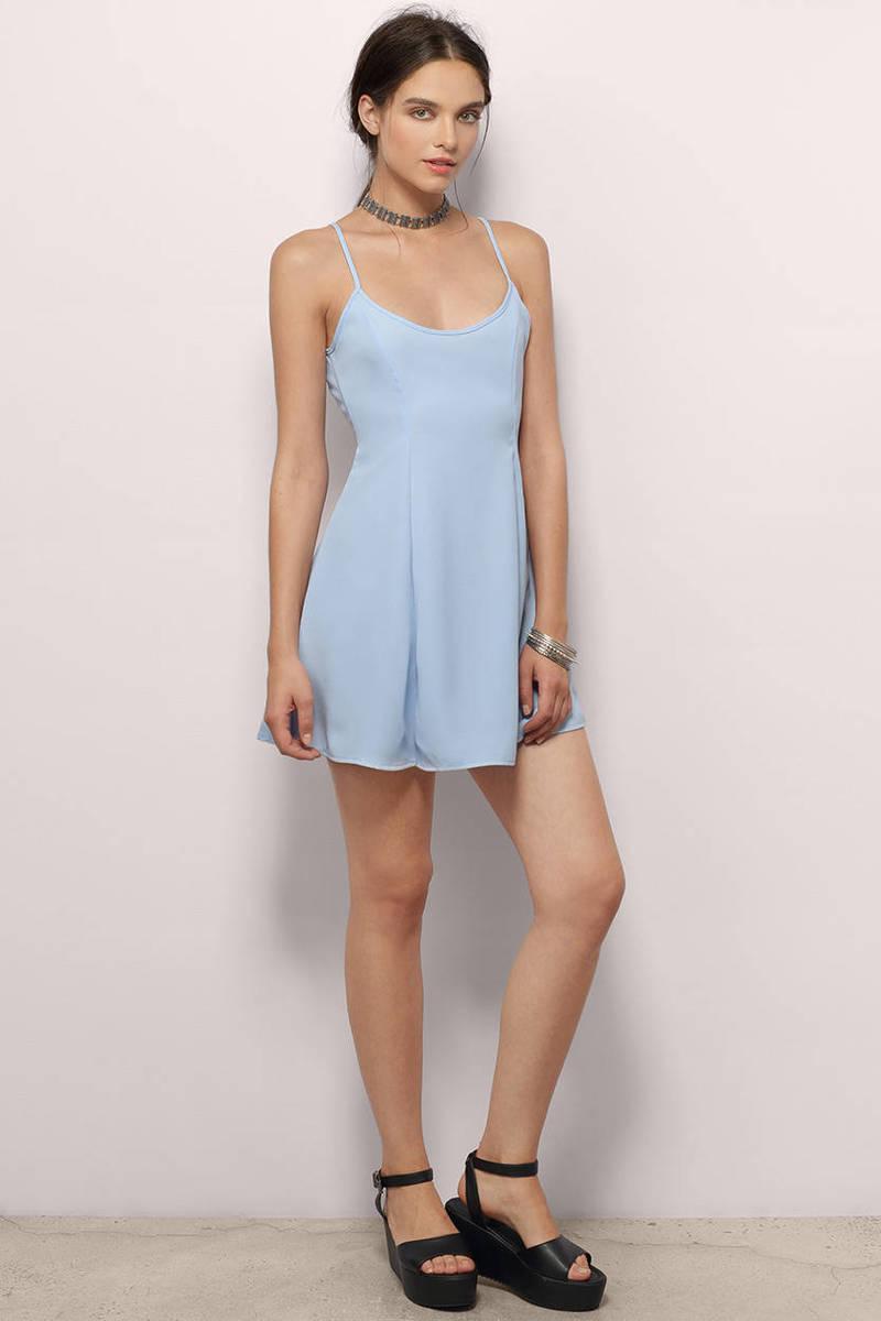 Light Blue Skater Dress Blue Dress Open Back Dress