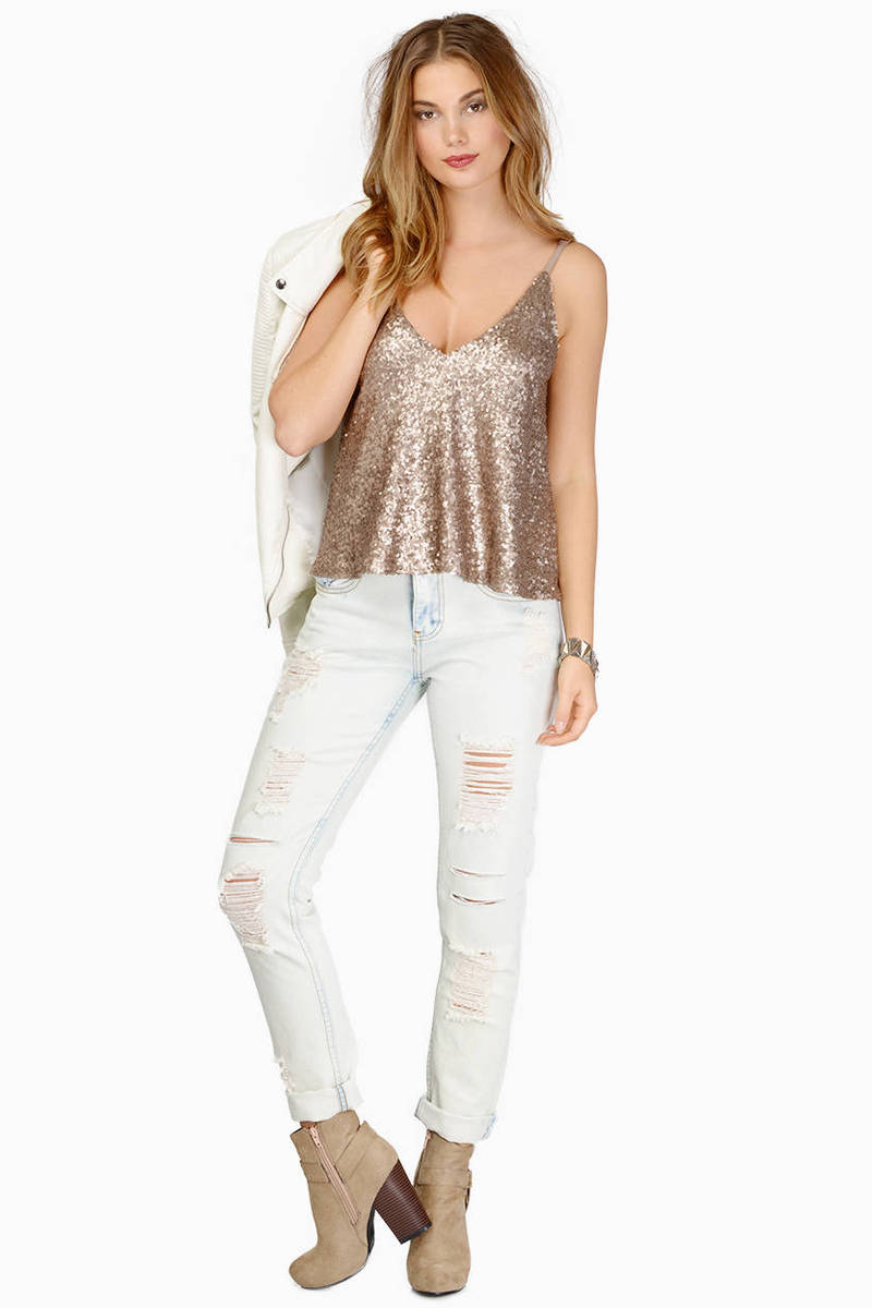 Cute White Tank Top - White Top - Sequin Top - White Tank - $12.00