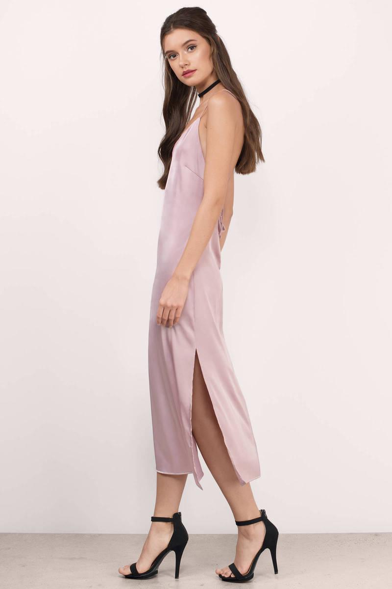 Cute Mauve Midi Dress Purple Dress V Neck Dress Midi