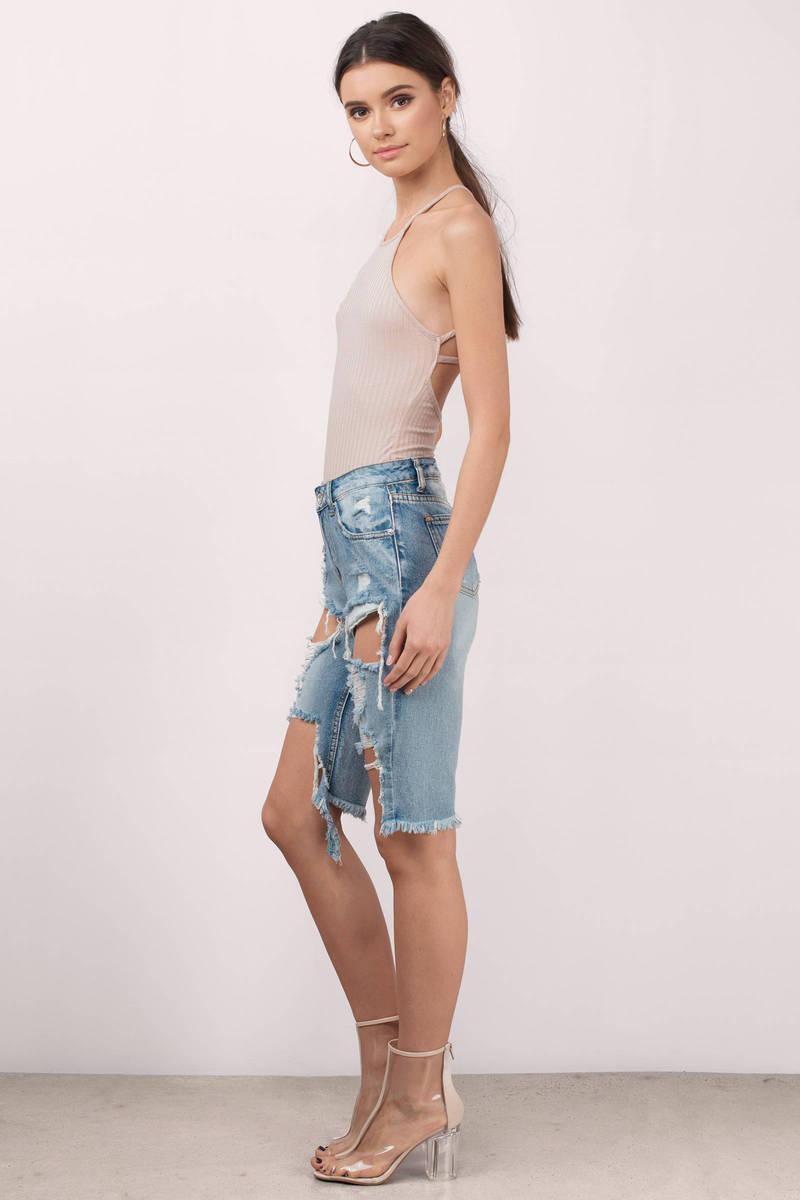 Medium Wash Denim Shorts - Distressed Denim Shorts - Blue Denim ...