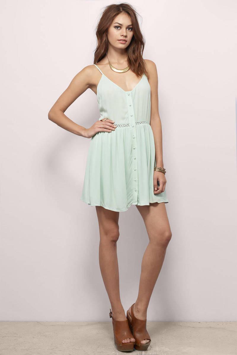 Cute Mint Skater Dress - Green Dress - Crochet Dress - $13.00